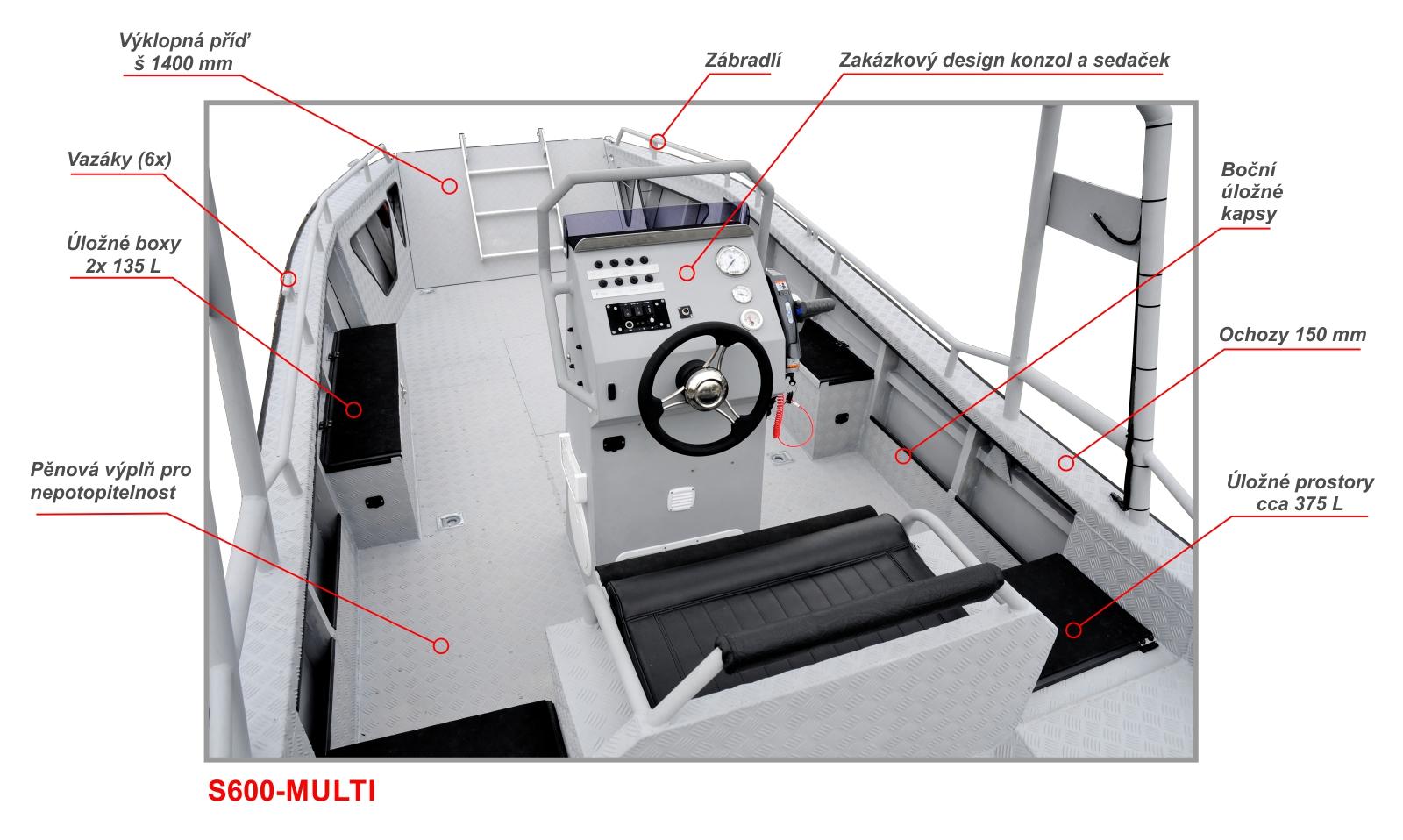 Zakázková výroba motorových člunů SCHELKALIN MOTORBOAT. Pracovní hliníkový člun S600-MULTI s výklopnou přídí