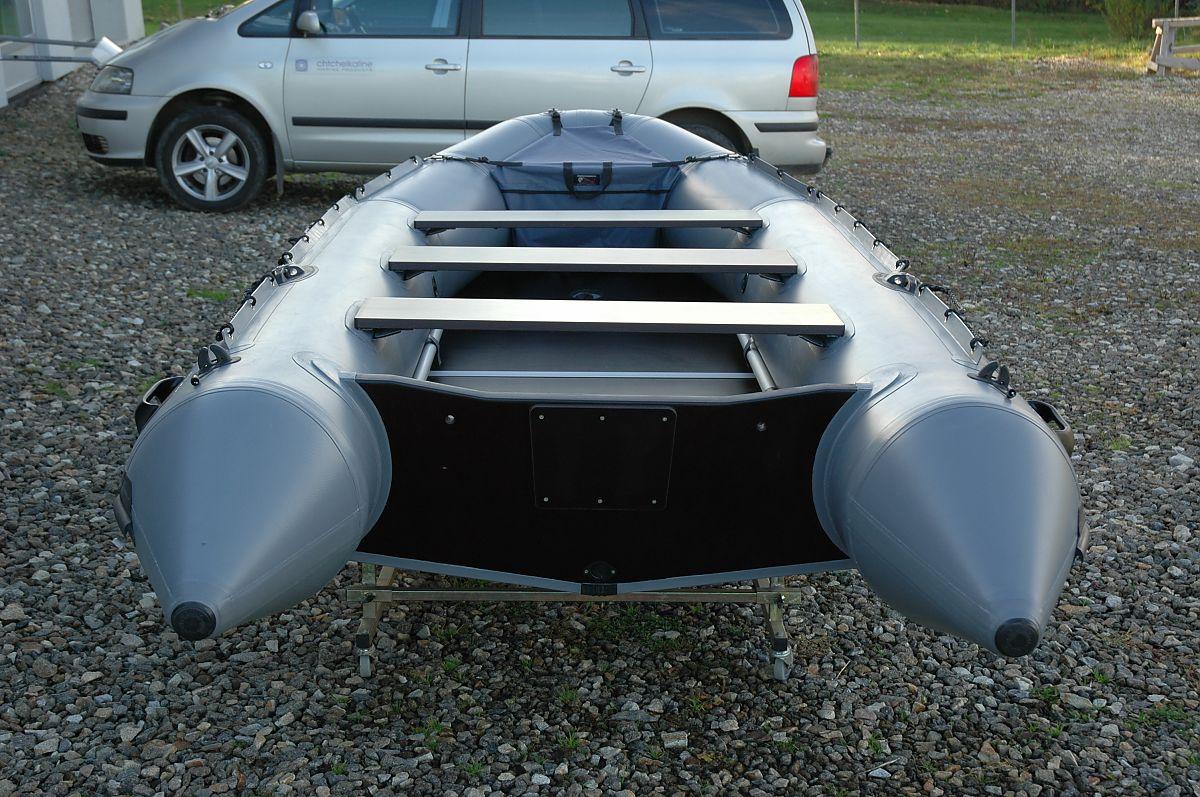 Nafukovací člun s kýlem, Adventure M-400 z šedého PVC materiálu HEYTex 1200 g/m2
