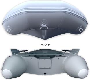 """Nafukovací kýl skládacího člunu by měl být u člunů již v délce okolo 3 m zakoinčen zrcadlem, které je rovněž tvarované do """"V"""", aby zlepšilo manévrovatelnost a ovladatelnost člunu ve vlnách. Obzvláště pak při užití silnějších lodních motorů"""