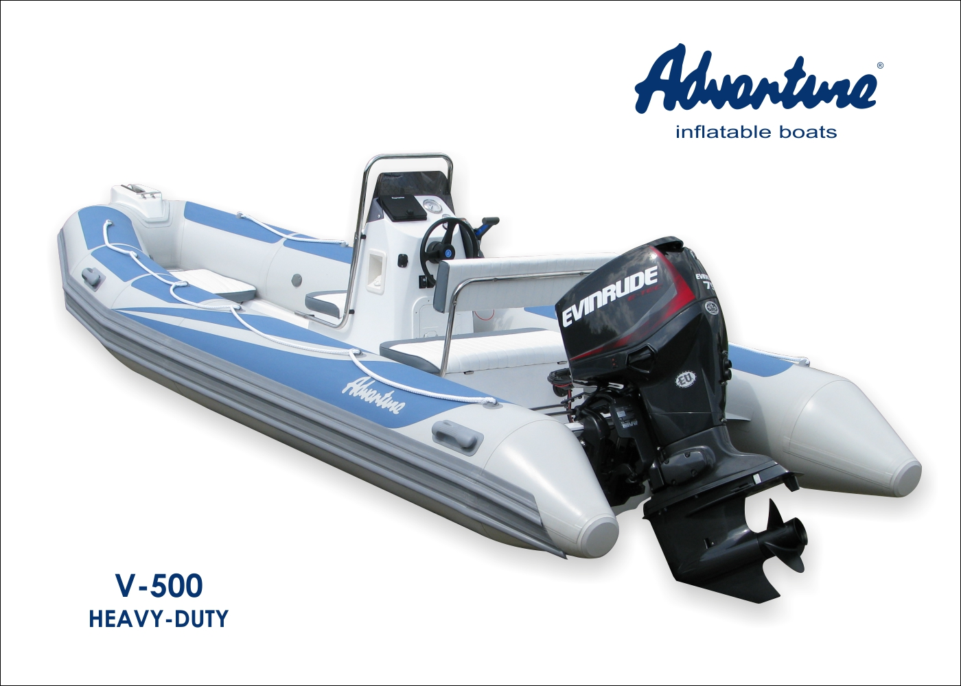 Zakázkové provedení člunu RIB Adventure V-500 HEAVY-DUTY s lodním motorem Evinrude E-TEC E75 DPGL