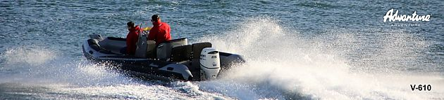 Nový nafukovací motorový člun třídy RIB Adventure V-610 je velkým člunem do velkých vln