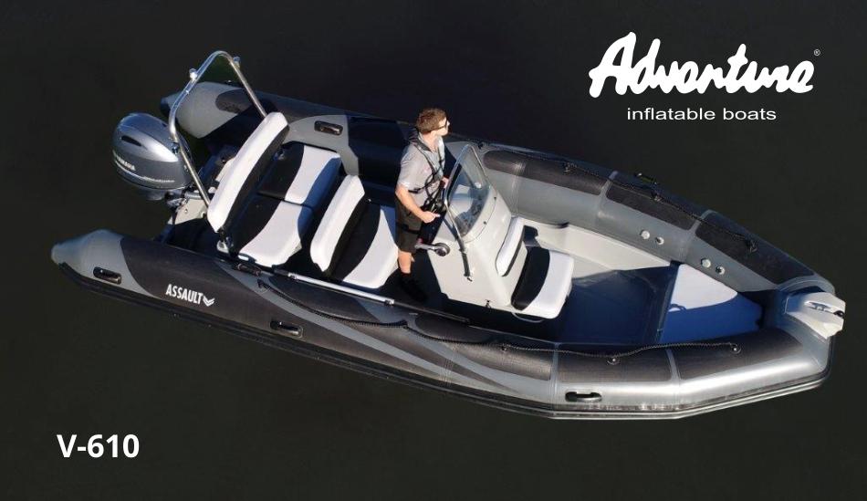 Nafukovací člun RIB s laminátovým kýlem Adventure V-610 nabízí široké možnosti výbavy a různých provedení