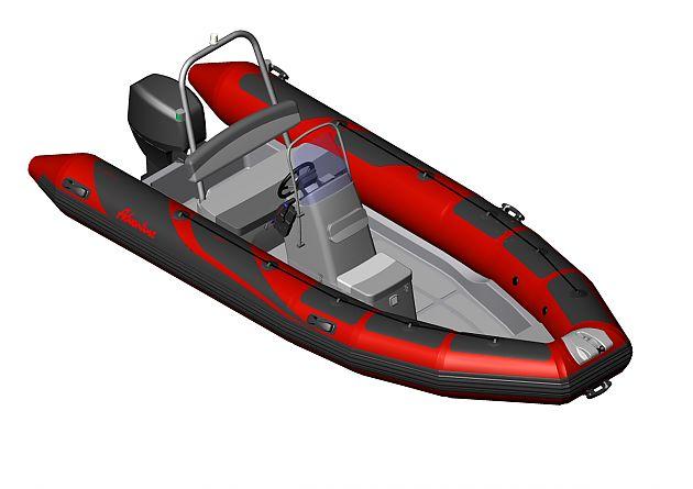 Náhled uspořádání konzoly Adventure SL-1 a sedačky SLS-500SL na nafukovacím člunu RIB Adventure V-500 HEAVY-DUTY