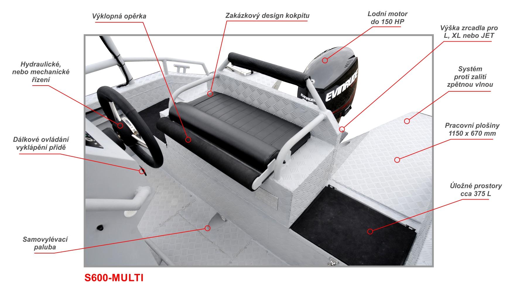 Kokpit člunu S600-MULTI je vždy individuálně navržen pro konkrétního zákazníka