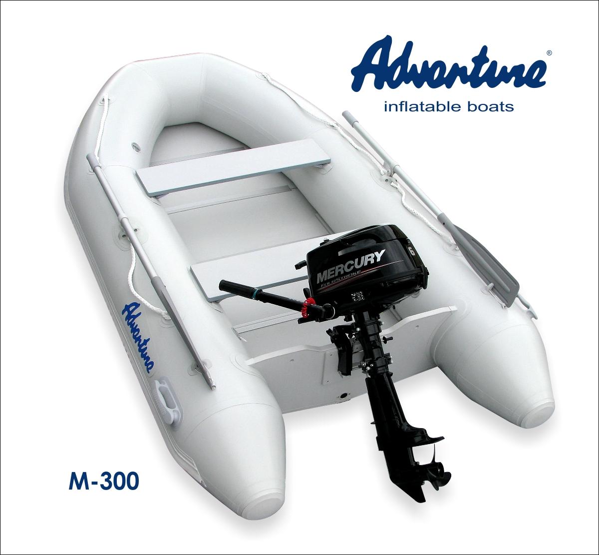 Výhodný komplet nafukovacího člunu Adventure M-300 s motorem Mercury F5 MH