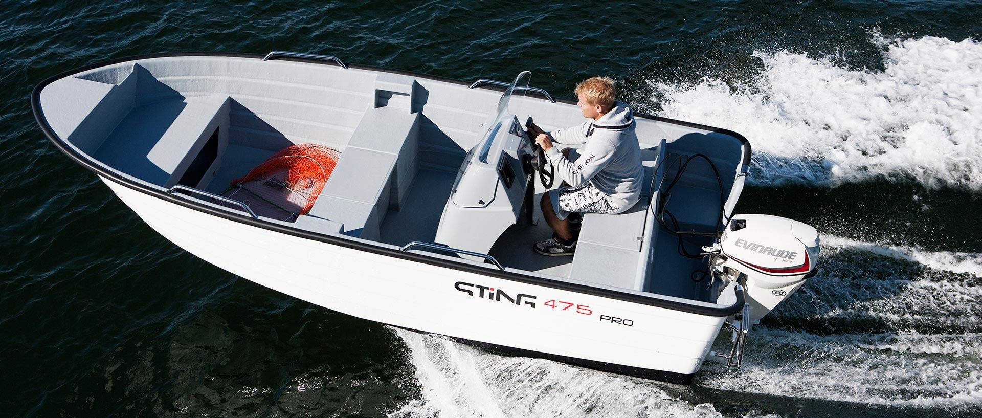 Pracovní motorový člun norské značky STiNG, 475 PRO
