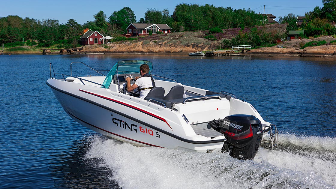 Dokonalý motorový člun na dovolenou na moři, STiNG 610S s lodním motorem Evinrude E-TEC E115 DSL | Ilustrační foto s volitelnou výbavou