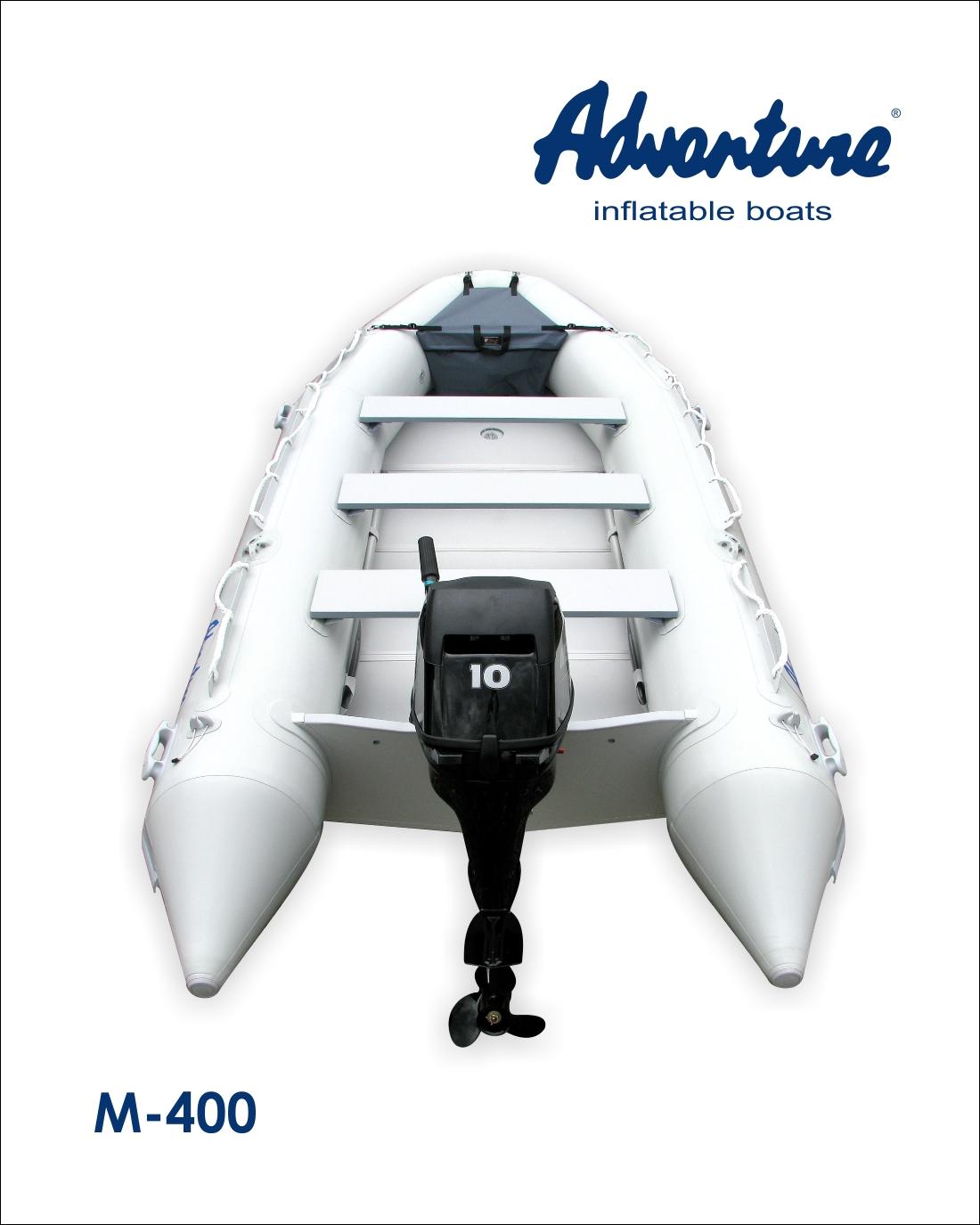 Nafukovací člun Adventure M-400 s motorem Mercury F10 Viking je cenově výhodný set motorového člunu, který je vhodný pro jakkoli velkou vodu