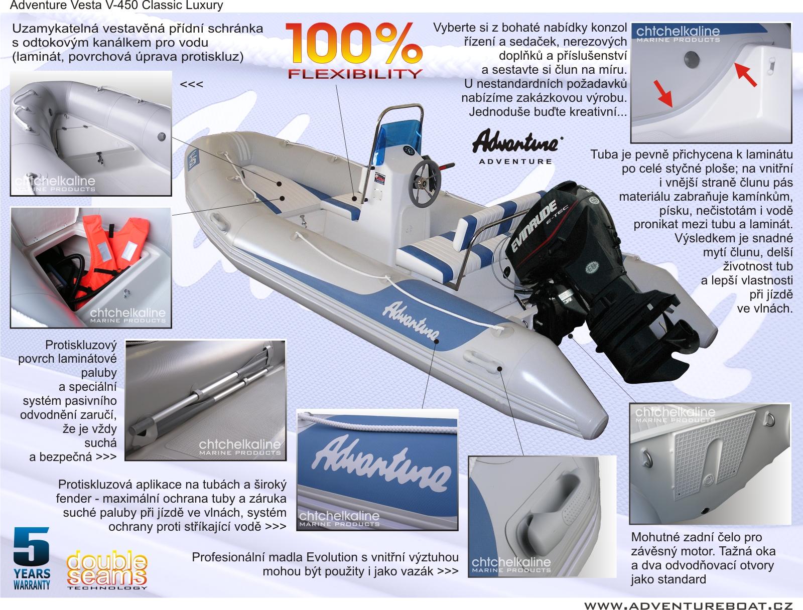 Bližší pohled na jednotlivé prvky výbavy nafukovacího člunu Adventure V-450 LUXURY